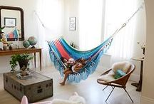 Hammocks in the Home / Inspiration and how to's on hammocks incorporated into your interior design. Bring the comfort of outdoors inside!