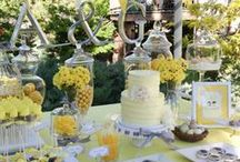 Fiesta amarillo y gris / Yellow and grey party / by FIESTAFACIL