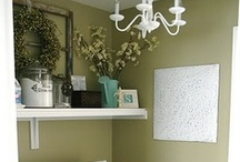 Laundry Rooms / Who doesn't want a cutesy, girly, frilly laundry room with a chandelier?  I DO!