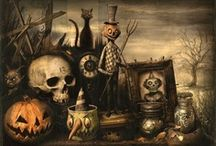 Halloween Art / Artworks inspired by Halloween and filled with pumpkins, trick or treaters, ghosts, jack-o-lanterns, black cats and spooks that haunt October nights.