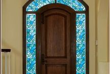 Stained Glass Window Film / Stained glass windows and doors add a beautiful energy and ambiance to a room. Whether you desire increased privacy or a stained glass design that decorates without blocking the view (see-through designs), Wallpaper For Windows adhesive-free stained glass window films are the affordable DIY (do-it-yourself) way to have a beautiful stained glass door or window that reduces heat and saves energy. / by Wallpaper For Windows