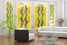 """Decorate with Golden Yellow / Use Deco Tint Golden Yellow from Wallpaper For Windows to add a pop of color to any glass door, window, or shower enclosure. Add even more interest by having the color tint cut into waves or spots or mix two or more colors. Also offered Leaded Glass designs with """"Gold"""" lead lines."""