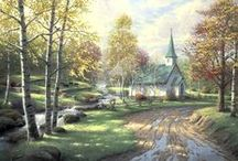 "Thomas Kinkade  / ~ ""What I paint touches on foundational life values. Home, family, peacefulness. And one of the messages I try to constantly get across is ~ slow it down and enjoy every moment."" / by Debbie Coleman"