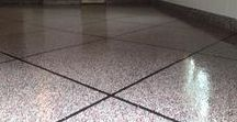 Epoxy Tile Flake Flooring / The strength and durability of industrial epoxy designed and created to look like tiles of granite!  The perfect basement or garage floor.