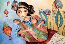 Incredible paintings from Maya women / Claudia Tremblay, maya, woman, paintings, paint, pictures, visual, arts, melancholic, mother, child, Guatemala, gallery, culture   http://claudiatremblay.blogspot.hu/