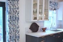 HOME: Kitchen / Mushroom gray walls, ivory cabinets, blue island, blue + white shades, turkish rugs / by Carrie