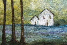 FELT | wall art & home decor / Textile art, needle-felted landscapes, illustrations, etc,  Felted items for hanging, decorating, displaying.  Some wet felted.