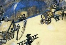 """MARC CHAGALL / Born on  06.07.1887 as Moishe Shagal in Liozna, near Vitebsk. died in France on 28.03.1985, aged 97! A Russian-French artist. His art represents Cubism, Symbolism, Fauvism and Surrealism. According to Jackie Wullschlager """"he remained most emphatically a Jewish artist, whose work was one long dreamy reverie of life in his native village of Vitebsk""""."""