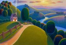 Artist: Paul Corfield  / Naive rolling landscapes look so idyllic, UK artist