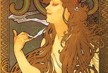 Alfons Maria Mucha (Alphonse Mucha) & some works inspired by Mucha / (24 July 1860-14 July1939), Czech Art Nouveau painter, designer - he produced many illustrations, posters, postcards and advertisements.