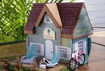 CRAFTS | Paper & wood buildings / bldgs similar to putz houses but not Christmas theme & simple little wood houses