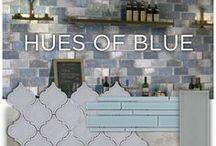 Hues of Blue / Accent colors come and go, but none are as adaptable as blue. From blue glass porcelain tile to blue mosaics, to blue marble and blue brick-look tile, there are tons of opportunities to make this trend your own. Use flooring with hints of blue or create a blue backsplash.