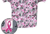 Pink Ribbon Scrubs / Lots of love and hearts on these Breast Cancer Awareness prints.
