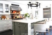 it started with KITCHENS / kitchen, kitchen design, white kitchen, gray kitchen, painted kitchen cabinets / by Linda @ it all started with paint blog