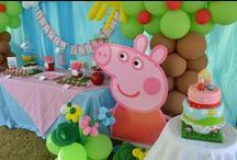 Peppa Pig Party Ideas / Peppa Pig party ideas for a girl birthday -- cakes, decorations, party foods and favors. See more party ideas at CatchMyParty.com.