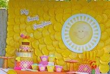 Sunshine Party Ideas / Sunshine party ideas for a baby shower or birthday -- Sunshine cakes, decorations, party foods and favors. See more party ideas at CatchMyParty.com.