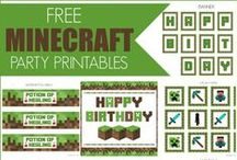 Minecraft Party Ideas / Minecraft party ideas for birthdays  --   Minecraft and Creeper cakes, decorations, party foods and favors. See more party ideas at CatchMyParty.com.
