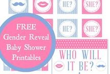 Gender Reveal Party Ideas / Fun gender reveal baby shower party ideas including free printables, ideas for party decorations, cakes, desserts, cake pops, and how to reveal the big surprise of he or she!