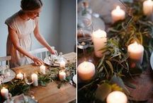 Christmas Table / Christmas Table inspiration, including beautiful DIY ideas, and how to's. Simple, elegant and achievable Christmas table decorations and place settings using natural items like greenery and berries and candles.