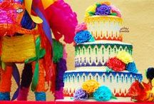 Mexican Fiesta Cake Inspiration Train / More versions of the Mexican Fiesta Cake with dot cascade pattern http://www.wickedgoodies.net/inspiration-train/