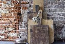 for rough luxe / : concrete : distressed wood : plywood : exposed brick : peeling paint : plaster :  / by Heather Young