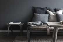 for dark walls / : Decorating inspiration for walls painted deep, intense colours : feature walls : decorating with black : indigo blue : charcoal