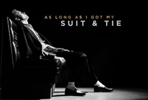 """Pop Interiors: A """"Suit and Tie""""-Inspired Formal Dining Room / The jury's still out on how I feel about Justin Timberlake's new single, """"Suit and Tie"""", but the accompanying video has an impressive Rat Pack feel to it. The dining room is designed for drama, so I made the room *ahem* suit the task, in black, white, rich woods, and metals. Watch the video here: http://bit.ly/YgdFjK (P.S. It doesn't photograph well as a swatch, but a ceiling painted in Ralph Lauren's Silver Plated RM13 from the Regent Metallics line would look amazing.)"""