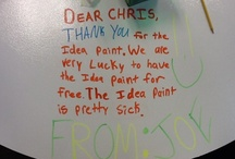 Letters to IdeaPaint / The students in Billy Spicer's 5th grade classroom used their new IdeaPaint desks to thank our sales rep, Chris, who orchestrated the makeover.
