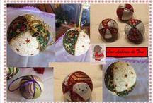 Bolas de Navidad / Bolas de Navidad,echas a mano con distintas técnicas y abalorios