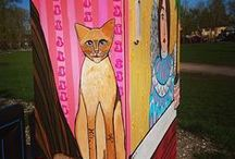 Home street project by an Estonian artist Kairo / This board is about how Estonian artist Kairo decorated Marja street in Tartu, Estonia.