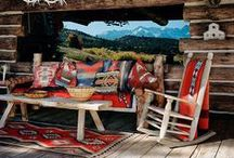 Rustic Red / Rustic rooms come alive with a pop of red.
