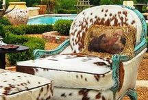 Rustic Cow Hide Decor & Fun / Here are some of our favorite cow hide home decor ideas. See more here: http://rusticartistry.com/product-category/shop-by-style/cowhide/