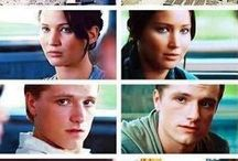**The Mockingjay** / The Hunger Games, Starring- Janiffer Lawrence As A Katniss Everdeen (The Girl On Fire), Josh Hutcherson As A Peeta Mellark (Bakers Boy), Liam Hemsworth As A Gale Hawthorne, Donald Sutherland As A Snow.  Katniss and Peeta are trying to save each other at the games.xx