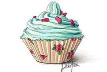 Cupcakes / Illustrationen von Cupcakes und Muffins. Ideal zum Sticker selber machen.