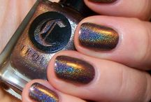 Mink / A chocolate brown with a rainbow holographic finish
