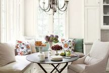 Inviting Interiors / Warm interiors give us that warm and fuzzy feeling inside, like a room full of sunshine, warm tones in reds, oranges, and browns, as well as natural wood accents in warm toned stains.