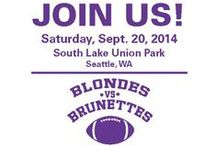 Blondes vs Brunettes Seattle / Blondes vs. Brunettes is a volunteer-driven active event for women that that brings the passion and spirit of young community leaders together to support the Alzheimer's Association. The event concept is organized around a flag football game in which the two participating teams are divided based on the age-old rivalry between blondes and brunettes.