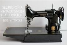 Singer Featherweight sewing machine.
