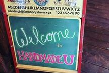 Chalkboards / Chalkboards are the main decor in our Historic Red Barn at Handmade U.  I love finding and collecting them, then turning them into a fun way to leave messages for our students.  Here are some of mine, and other favorites around the web.  www.handmadeu.com