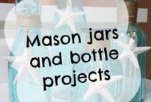 Mason jars and bottles / DIY projects made from mason jars | upcycled glass jars | Repurposed mason jars | upcycled mason jar crafts | diy mason jar projects | recycled mason jars | upcycled glass jars and bottles | repurposed glass jars and bottles | upcycled  bottles | repurposed bottles | diy bottle crafts | diy jar crafts | things made from empty jars | things made from empty bottles