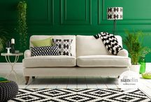 Colour Trend: Green + Monochrome / Bring the outdoors inside and combine with monochrome graphics for a rich and sophisticated look. Summer '14 is here and green makes us think of leafy forests and holidays in tropical places. / by Sian Elin