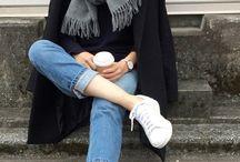 Black Coat, White Shoes