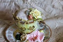 To the Point..... / teacup pin-cushions and needle-books.