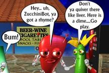 food robots chuckle healthy humor by valxart / Welcome to world of Fudebots (Funny Unidentified Delicious Edible Bots) are food/robot ambassadors for health & wellness bringing delicious and nutritious to Earth . See fudebots in 10 videos, cartoons and products in this board or see more Valxart at pinterest.com/valxart / by Valx Art