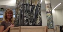 Ceramic Art Tile Murals for an Alaskan High School / We were awarded a public art grant to design, create and install 10 ceramic tile murals on columns in an Anchorage high school. These photos show our process