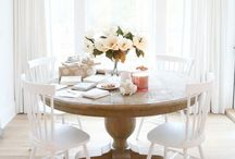 { Dining Room } / Dining rooms with beautiful chandeliers and white linen chairs