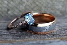 Rose Gold Rings / Rose Gold wedding bands and rose gold engagement rings are trending now more than ever. Pair rose gold with a unique material like meteorite or wood and you've added something truly chic to your accessory line up!