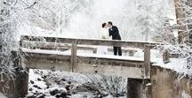 """Winter Wedding Ideas / What could be more magical than saying """"I Do"""" under the falling, sparkling snow? Fur shawls, cozy flannel blankets, soft mittens...the possibilities for photo props will make all those spring and summer brides envious of your winter wonderland wedding."""