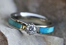 """Totally Turquoise Wedding Jewelry / A piece of turquoise jewelry is the perfect """"something blue"""" accessory on your wedding day. Browse our wide selection of turquoise engagement rings, turquoise wedding bands and other turquoise jewelry."""