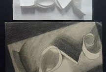 portfolio cover 8th / draw paper letters   shading / by Art Ed Central